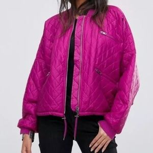 Free People Easy Quilted Bomber Jacket in Pink